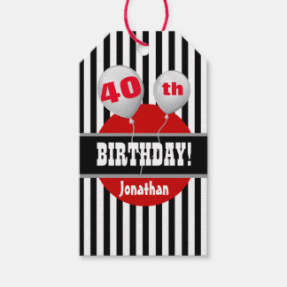 40th Birthday Striped with Balloons 2 Gift Tags