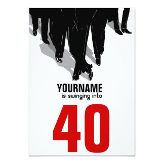 "40th Birthday Swingers Rat Pack Party 5"" X 7"" Invitation Card"