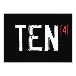 40th Birthday - TEN to the Fourth 13 Cm X 18 Cm Invitation Card