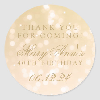 40th Birthday Thank You Gold Bokeh Sparkle Lights Round Sticker