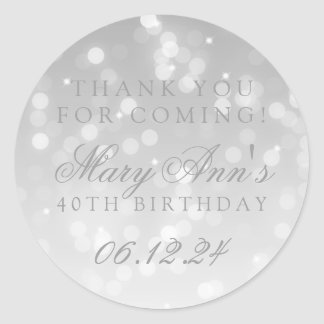 40th Birthday Thank You Silver Bokeh Sparkle Light Classic Round Sticker