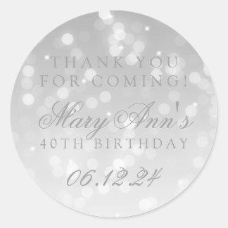 40th Birthday Thank You Silver Bokeh Sparkle Light Round Sticker