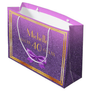 40th Birthday Ultra Violet Pink With Faux Glitter Large Gift Bag