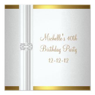 40th Birthday White Gold Diamond Jewel 13 Cm X 13 Cm Square Invitation Card