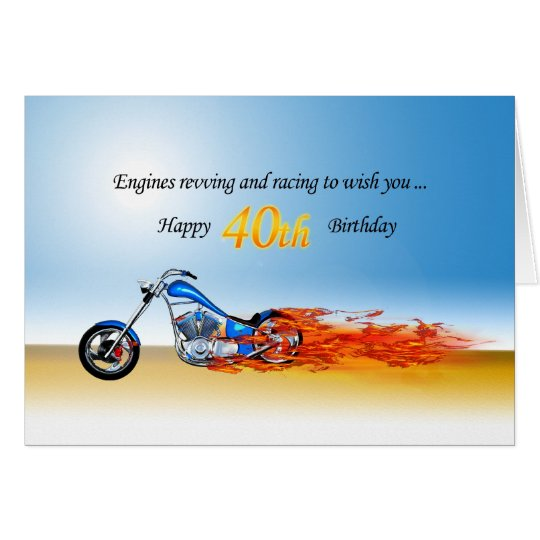 40th Birthday with a Flaming Motorcycle Card