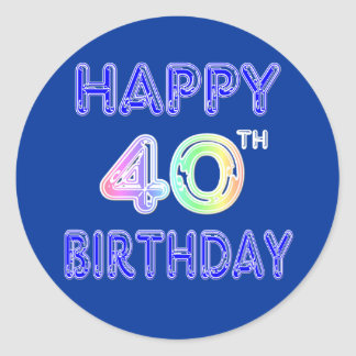 40th Birthday with Ballon Font Classic Round Sticker