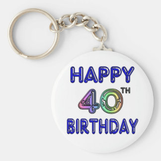 40th Birthday with Ballon Font Key Ring