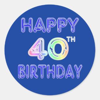 40th Birthday with Ballon Font Round Sticker