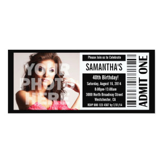 40th Black and White Ticket 10 Cm X 24 Cm Invitation Card