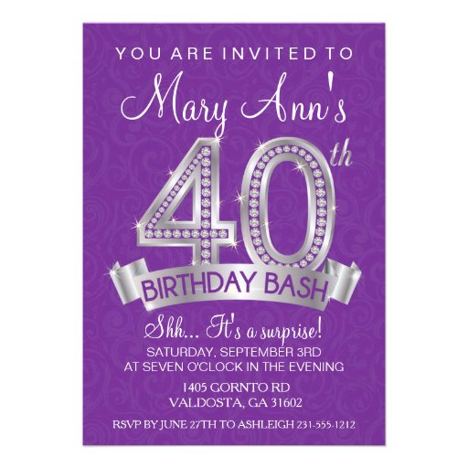 40th Diamond Birthday Invitation - Milestone