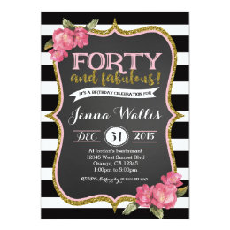 Surprise 40th birthday invitations announcements zazzle 40th forty fabulous birthday invitation stopboris Image collections