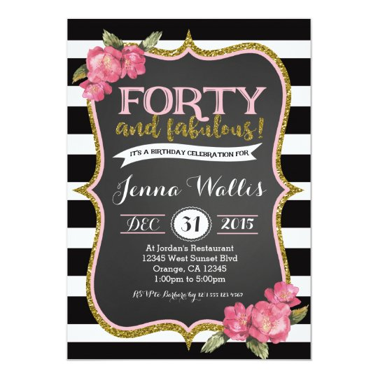 40th Birthday For Women Invitations Announcements – 40th Birthday Invitation Cards