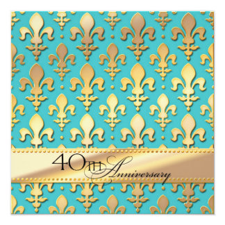 40th, Fourtieth Wedding Anniversary, Fleur de Lis Card