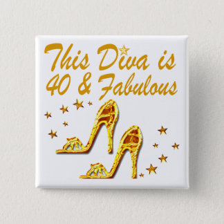40TH GOLD SHOES 15 CM SQUARE BADGE