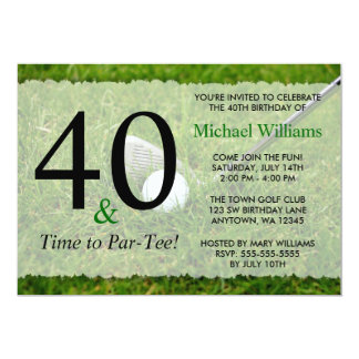 40th Golf Birthday Party Card