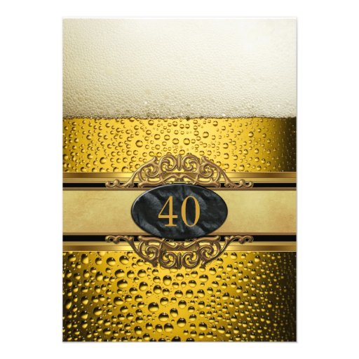40th Mans Beer Black Gold Birthday Party Personalized Invites