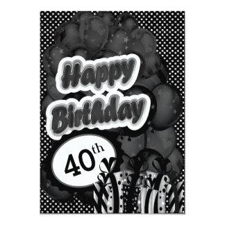 40th Milestone Birthday 13 Cm X 18 Cm Invitation Card