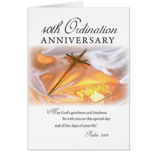 40th Ordination Anniversary, Cross Candle Greeting Card