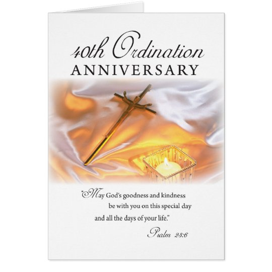 40th Ordination Anniversary, Cross Candle Card