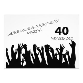 40th party invitation with cheering crowds