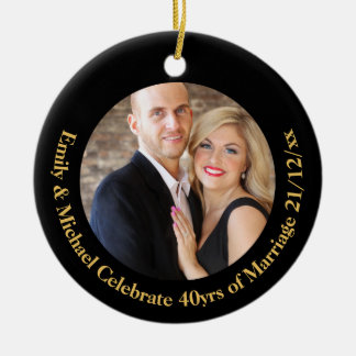 40th PHOTO Wedding Anniversary Black Gold Marble Christmas Ornament