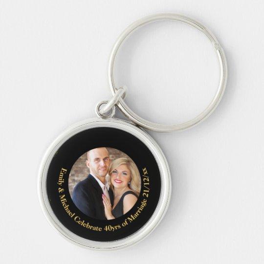 40th PHOTO Wedding Anniversary Black Gold Marble Key