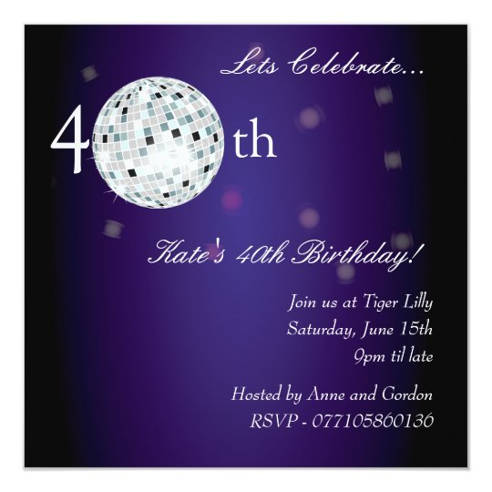 40th Purple Disco Ball Party Invitation