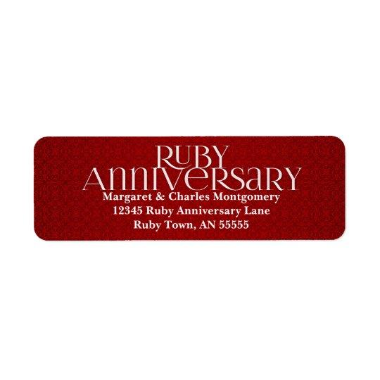 40th Ruby Anniversary Avery Label Return Address Label