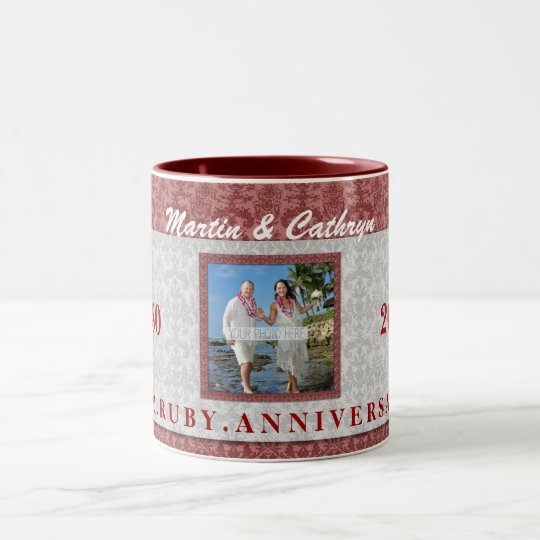 40th Ruby Anniversary Red and Silver Damask Photo