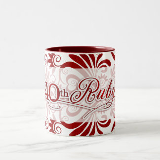 40th Ruby Anniversary with Red Swirls on White Two-Tone Coffee Mug