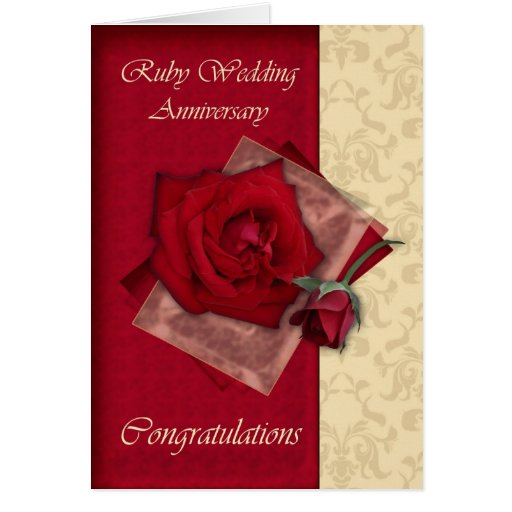 40th Ruby Wedding Anniversary congratulations Greeting Cards