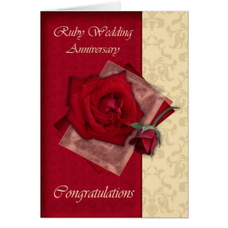 40th Ruby Wedding Anniversary congratulations Greeting Card