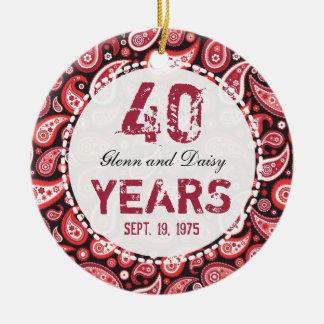 40th Ruby Wedding Anniversary Paisley Monogram Round Ceramic Decoration