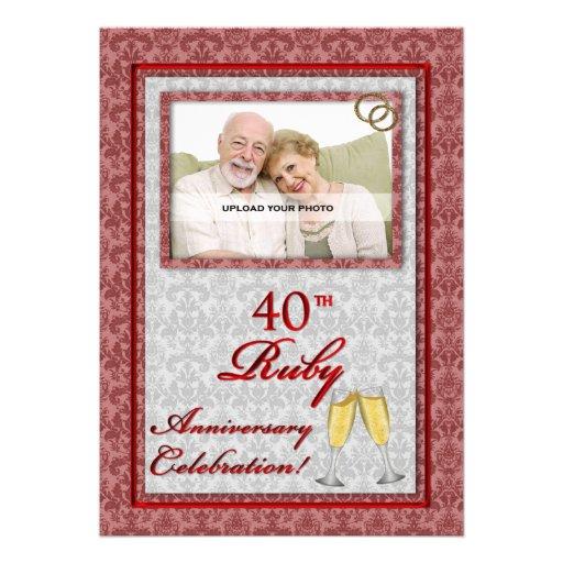 40th Ruby Wedding Anniversary Photo Invitations