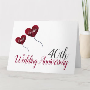 40th Ruby Wedding Anniversary red balloon large Card