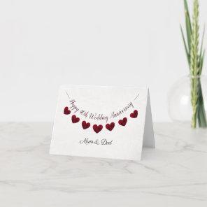 40th Ruby Wedding Anniversary red heart mum & dad Card