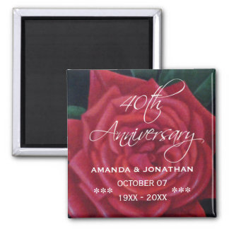 40th Ruby Wedding Anniversary Red Rose Magnet