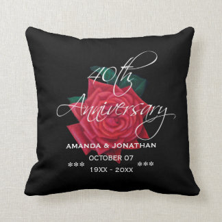 40th Ruby Wedding Anniversary Red Rose Throw Pillow