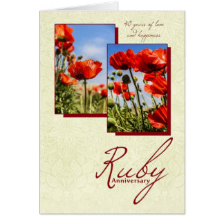 40th Ruby Wedding Anniversary With Poppies Greeting Card