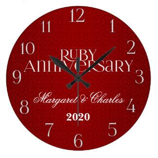 40th Ruby Wedding Annivsersary Custom Large Clock