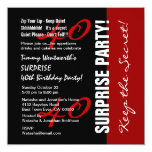 40th SURPRISE Birthday Black Red White W1895 Personalized Invitation