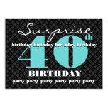 40th SURPRISE Birthday Black Turquoise W1858 Custom Announcements
