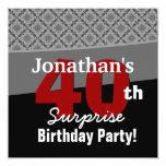 40th Surprise Birthday Black White Red Diamonds