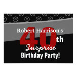 40th Surprise Birthday Black White V541 Personalised Invites