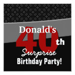 40th Surprise Birthday Modern Black White Red V05 Custom Invitations