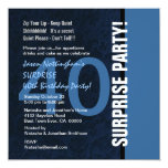 40th SURPRISE Birthday Modern Blue S592 Personalized Announcement
