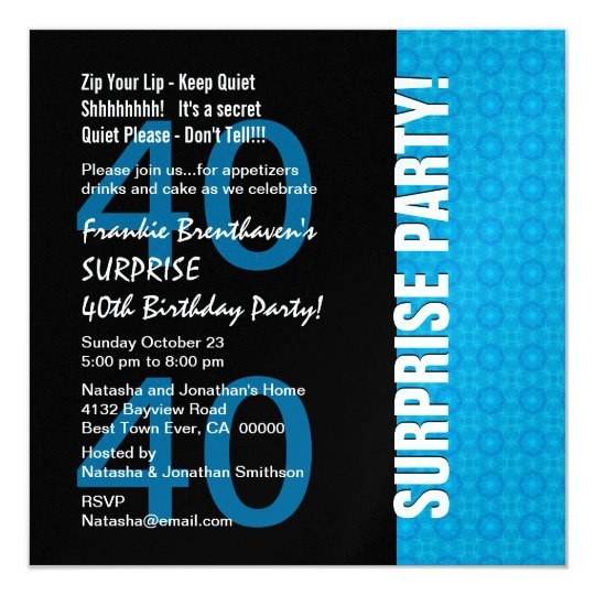 40th Surprise Birthday Modern Turquoise Blue W1780 Card