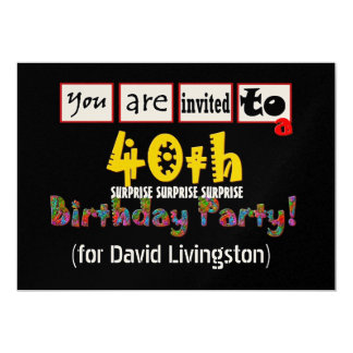 40th SURPRISE Birthday Party Gold Metallic Paper Card