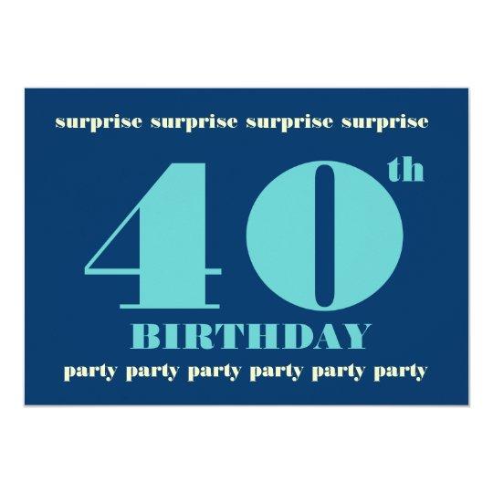 40th SURPRISE Birthday Party Invitation - Blue