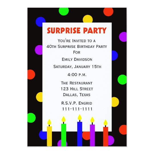 40th Surprise Birthday Party Invitation Dots